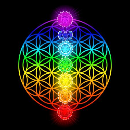 Ilustración de siete chakras y flor de la vida Ilustración de vector