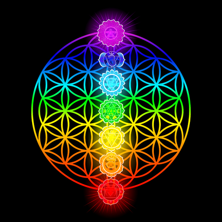 Seven chakras and flower of Life illustration