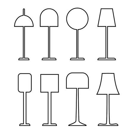 Set van elektrische vloerlampen overzicht vectorillustratie op witte achtergrond. Stock Illustratie