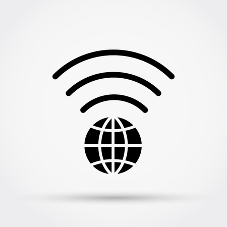 WI FI vector icon with earth symbol