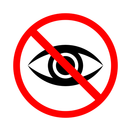 No Looking Sign Vector Illustration. Imagens - 85936208