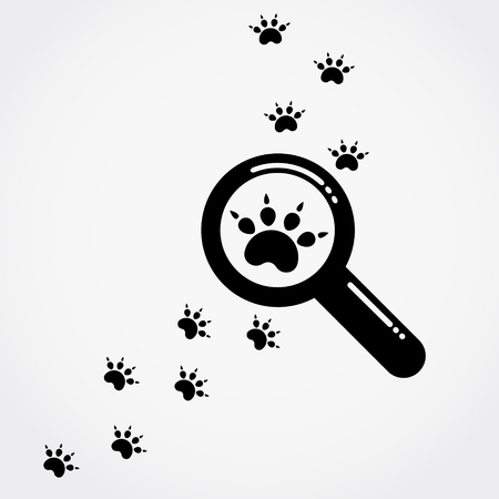 Magnifying glass and paw prints. Vector illustration.