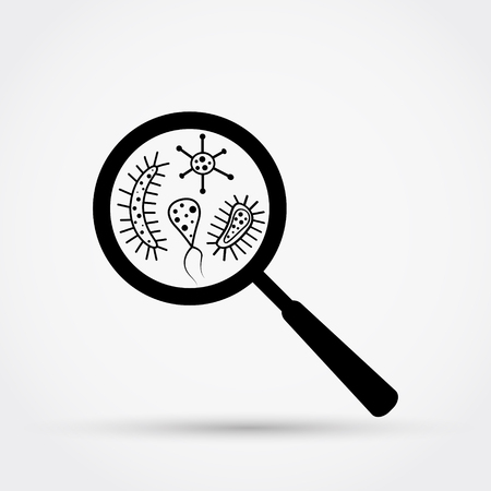 Germs and bacteria under the magnifying glass vector illustration.