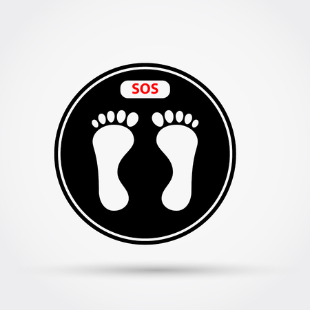 Weight scale with the text SOS. Vector illustration.