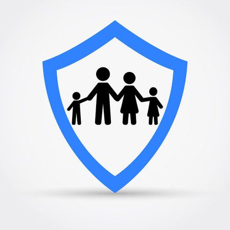 Shield and family, safety concept logo. Illustration