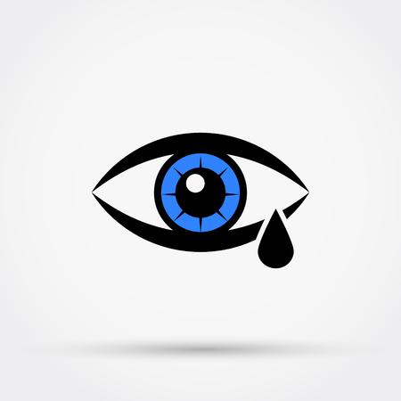Lágrima, grito, olho, vetor, ícone, ilustração vetorial.