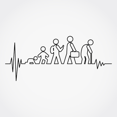 Lline of the pulse with man lifecycle from birth to old age in silhouettes.Vector illustration.