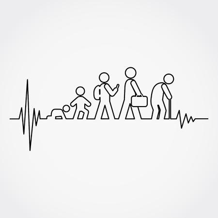 Liniowy puls z cyklem życia człowieka od urodzenia do starości w sylwetce.Vector ilustracji.