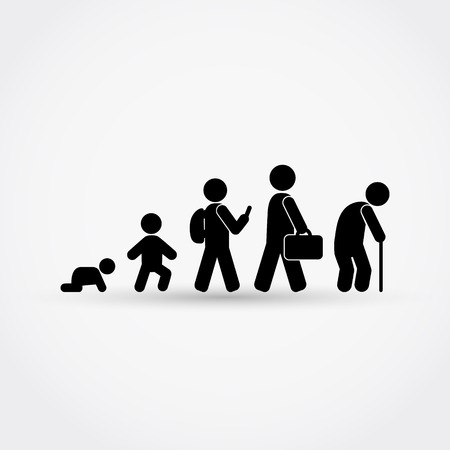 Man lifecycle from birth to old age in silhouettes.Vector illustration.