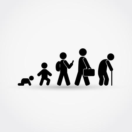 Człowiek cyklu życia od narodzin do starości w sylwetce.Vector ilustracji.
