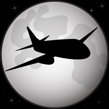 Silhouette of an airplane flying across a full moon. Vector illustration. Illustration