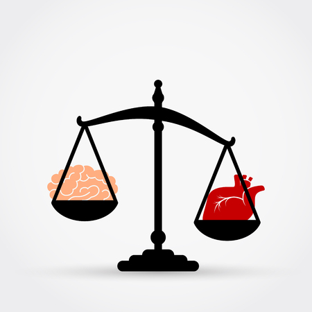 Vector illustration of scales. Heart or mind.
