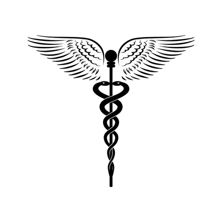 tantra: Caduceus - medicine symbol vector illustration.