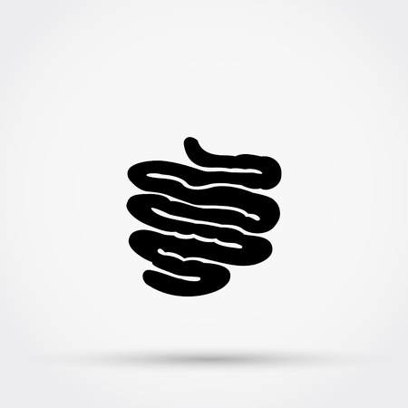 Black silhouette of  small intestine vector icon.