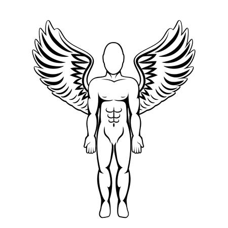 Man with wings. Angel figure. Vector illustration. Illustration