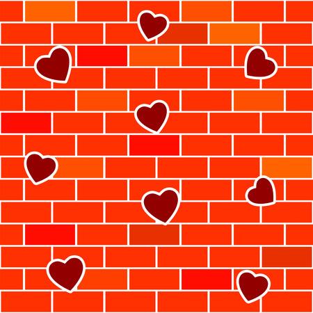 벽돌 벽과 하트 추상적 인 배경입니다. 일러스트