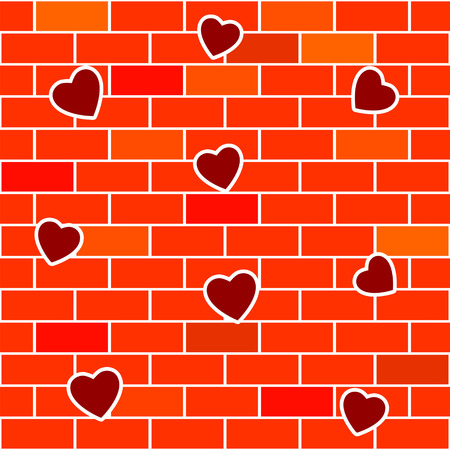 Abstract background with brick wall and hearts.