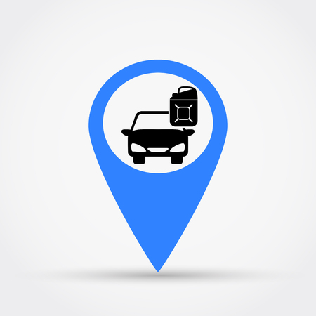 Map pointer for car petrol station  icon.