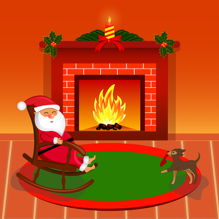 Happy Santa Claus near fireplace in living room. Illustration