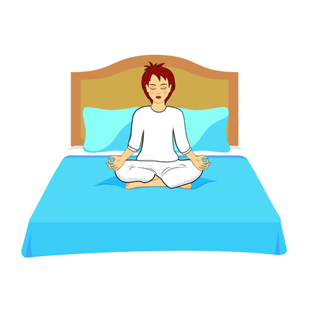 Woman practicing yoga exercises on the bed.