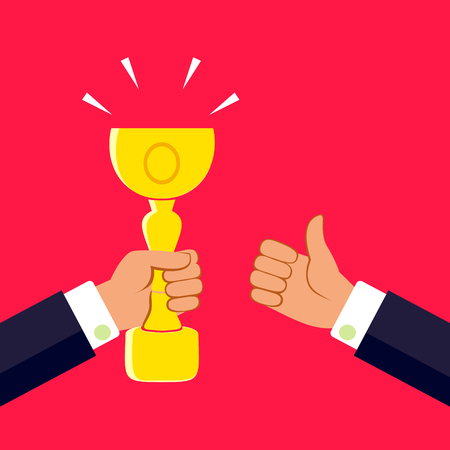 Hand holding a winners trophy and thumb up. Vector illustration. Illustration