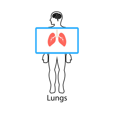Lungs on screen. Vector illustration.
