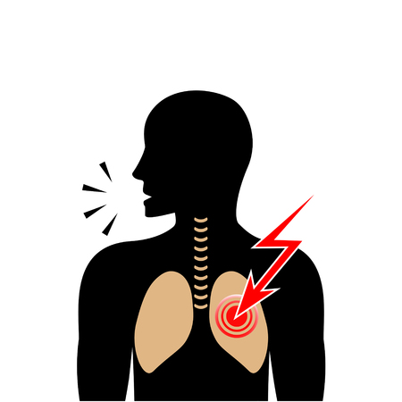 Silhouette of coughing man. Pain in lungs. Vector illustration. Illustration
