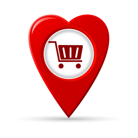 Heart shaped map pointer of shopping center, vector icon.
