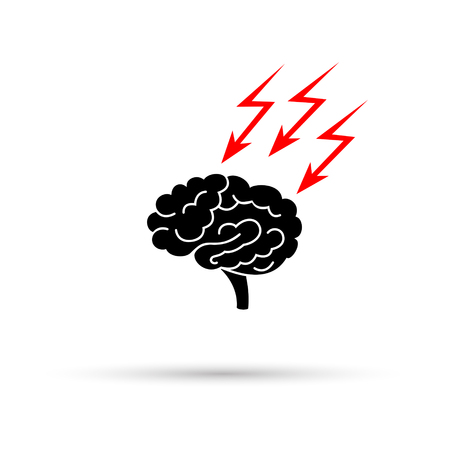 Black silhouette of stressed out brain with thunderbolt. Vector illustration.