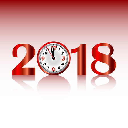 2018 Happy New Year background with clock and numbers. Vector illustration.