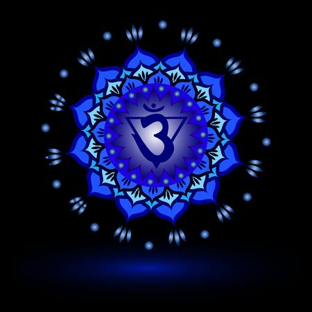 Circle mandala pattern. Ajna chakra vector illustration.