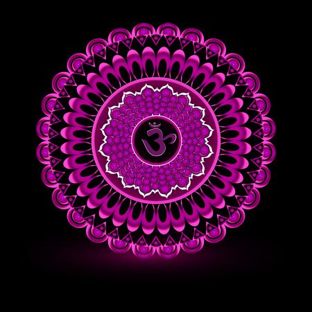 Circle mandala pattern. Sahasrara chakra vector illustration. Illustration