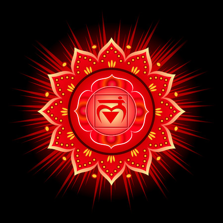 Circle mandala pattern. Muladhara chakra vector illustration.