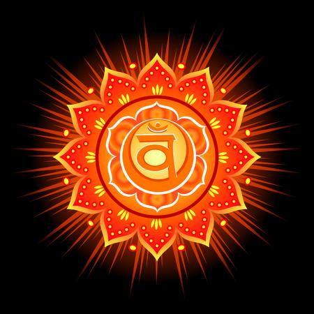 Circle mandala pattern. Swadhisthana chakra vector illustration.
