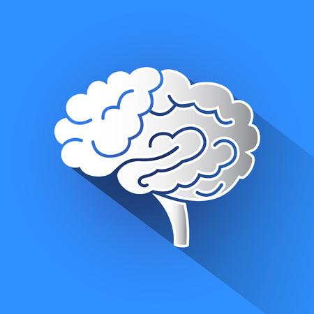 Silhouette of brain vector icon in blue background.