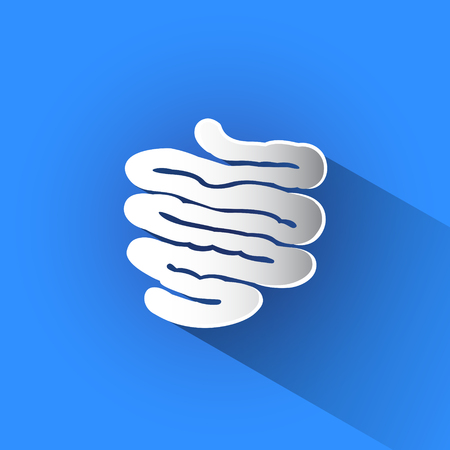 Silhouette of small intestine vector icon in blue background.