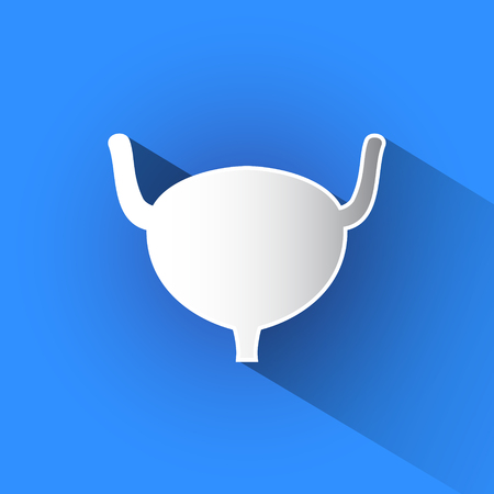 Silhouette of urinary bladder vector icon in blue background.