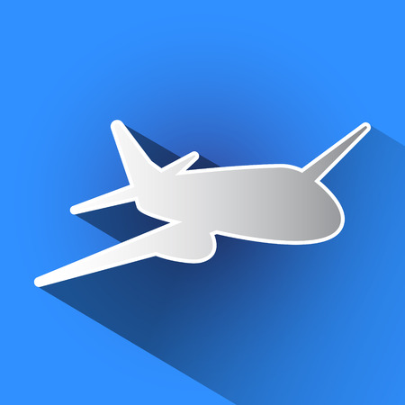 Airplane with long shadow. Vector illustration in blue background.