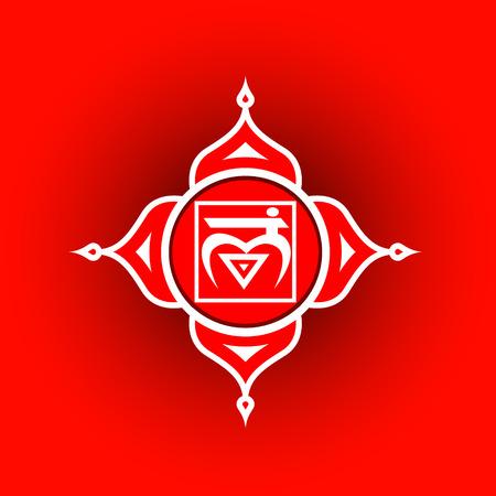 Circle mandala pattern. Muladhara chakra vector illustration. Stock Vector - 93556433