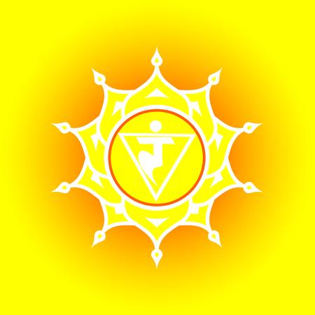 Circle mandala pattern. Manipura chakra vector illustration.