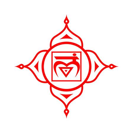 Circle mandala pattern. Muladhara chakra vector illustration.