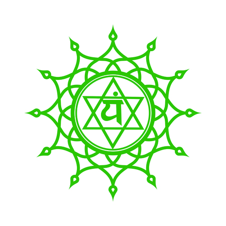 Cirkelmandala patroon. Anahata chakra vector illustratie. Stock Illustratie