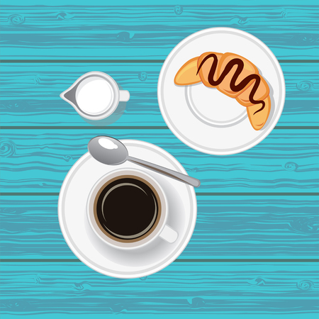 Coffee with croissant. Top view. Vector illustration.
