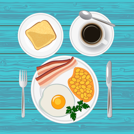 Traditional breakfast with fried egg, bacon, beans, toast and coffee. Top view. Vector illustration. Illustration