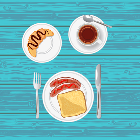 Breakfast with sausages, toast, croissant and tea. Top view. Vector illustration.