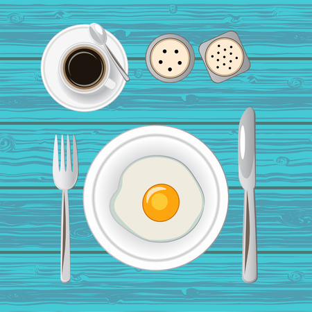 Breakfast with fried egg and coffee. Top view. Vector illustration.