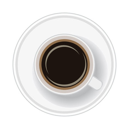 Cup of coffee on white background. Top view. Vector illustration.