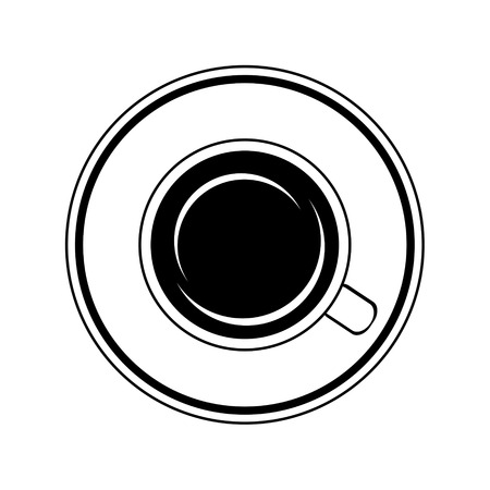 Black and white vector illustration of cup of coffee. Çizim