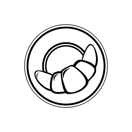 Black and white vector illustration of croissant on the plate.