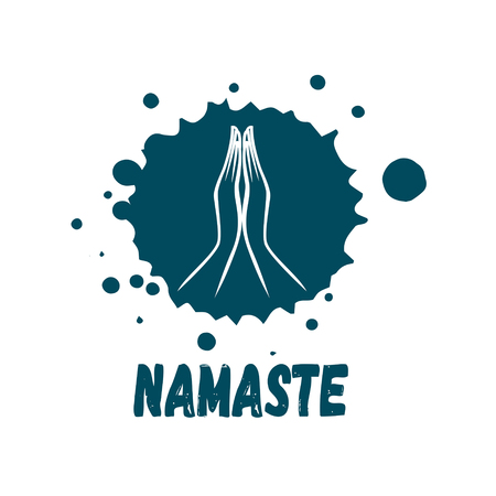 Indian womans hand greeting posture of namaste vector illustration.